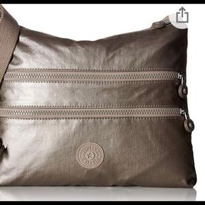 Kipling Alvar Metallic Pewter Crossbody Bag